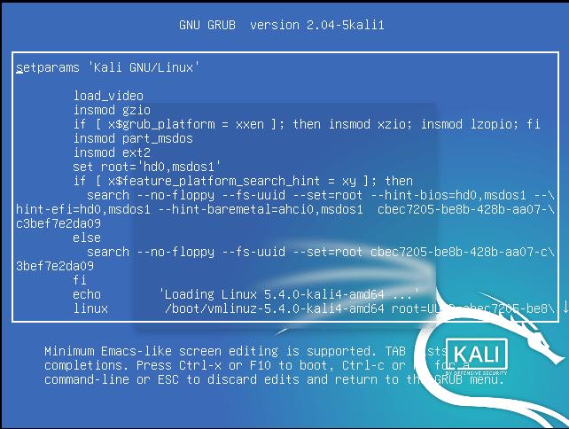Kali-2020-root-sifre-degistirme