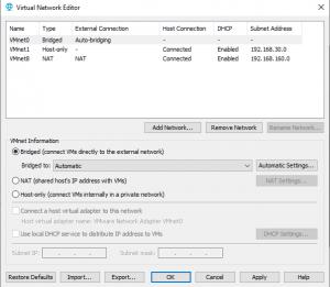 "VMWare Workstation ""bridgemod"" bağlantı problemi"